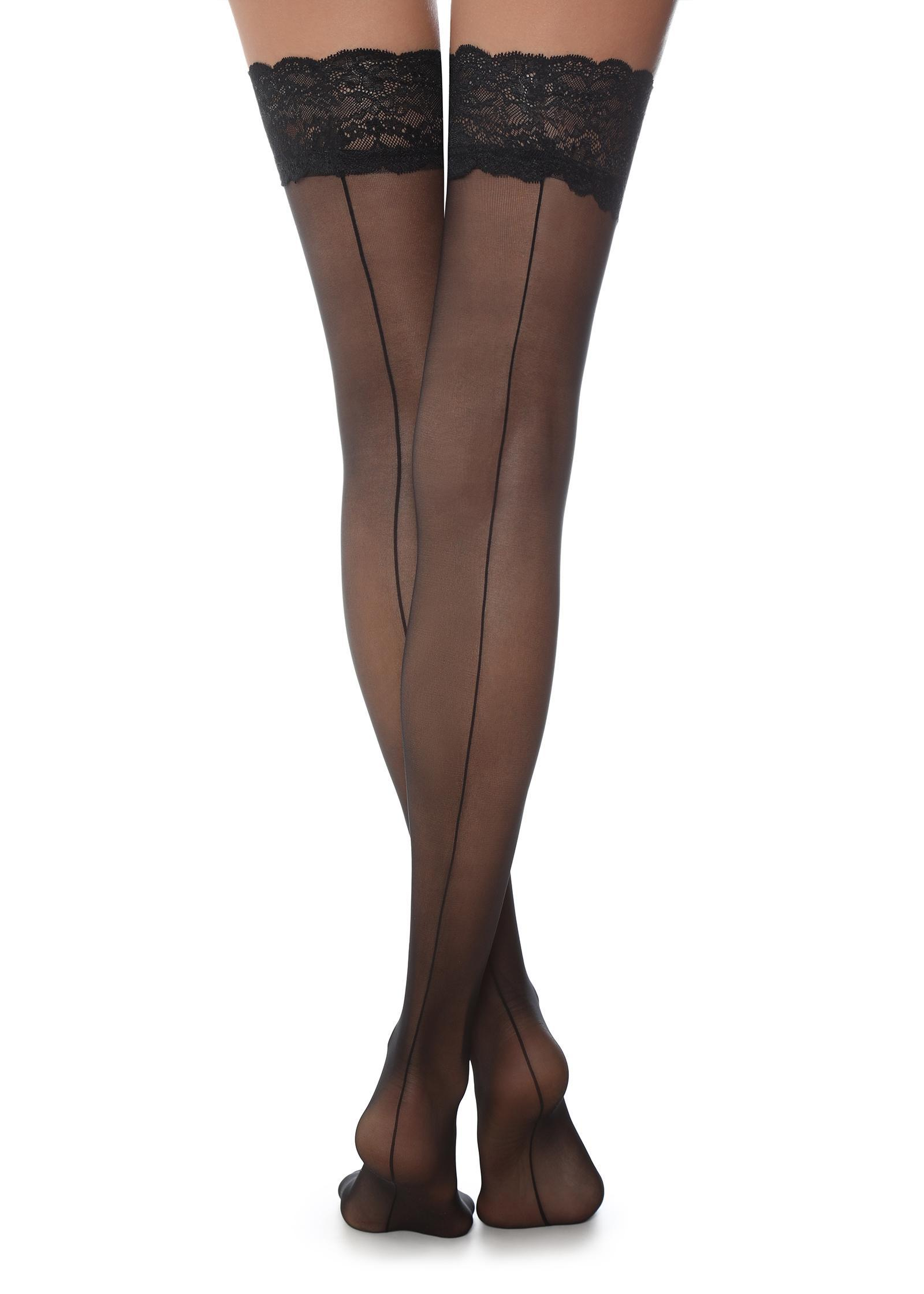 5b3d8b64536 Lyst - Calzedonia Back Seam Hold-ups in Black