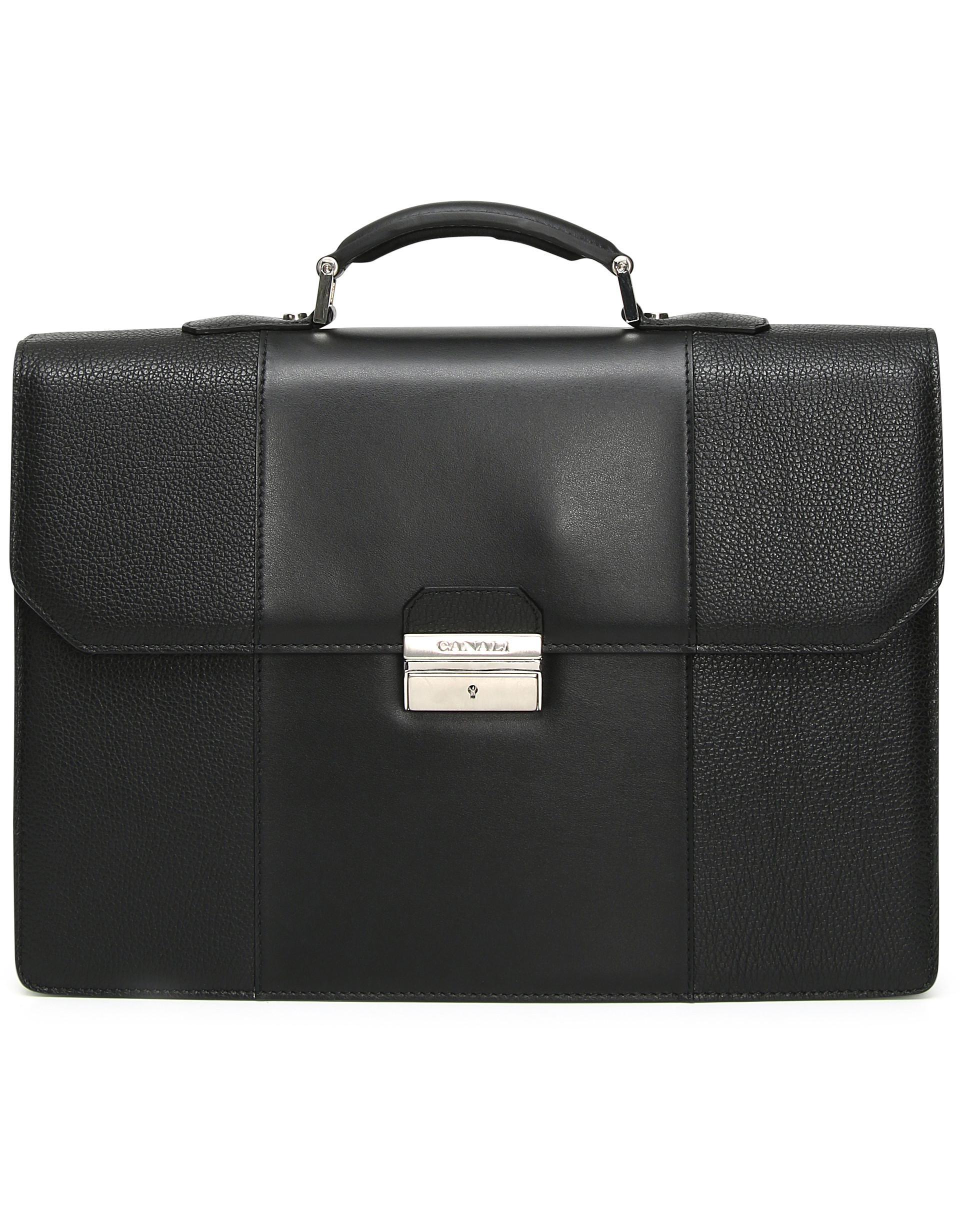 16ec7f15e860 Lyst - Canali Black Tumbled Calfskin Leather Briefcase in Black for Men