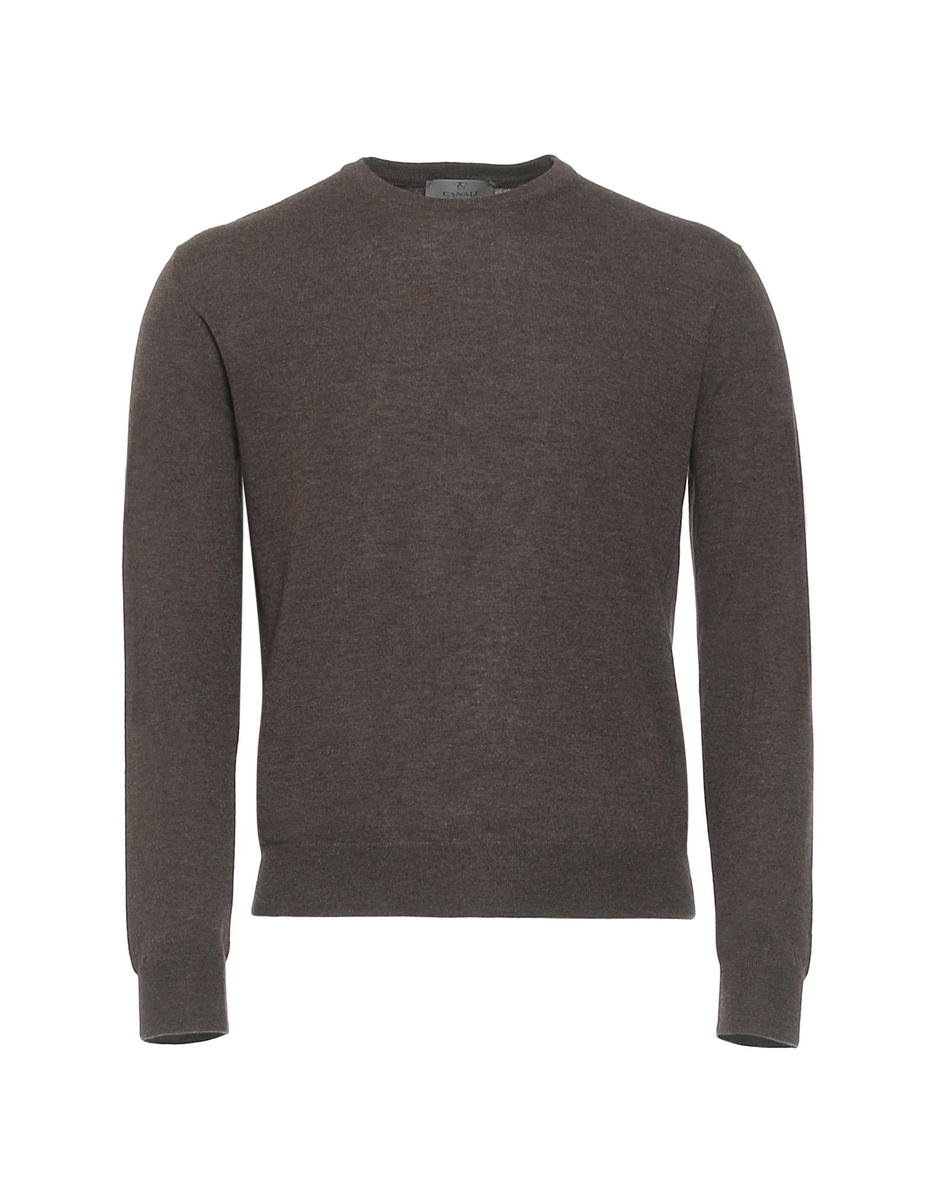 Canali Dark Brown Cashmere Crew Neck Sweater in Brown for Men | Lyst