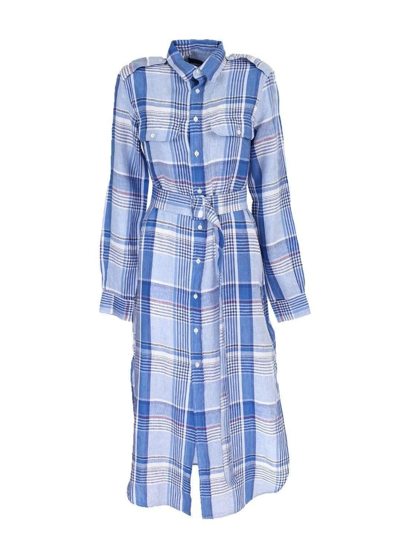 34390349a1 Lyst - Ralph Lauren Linen Shirt Dress in Blue
