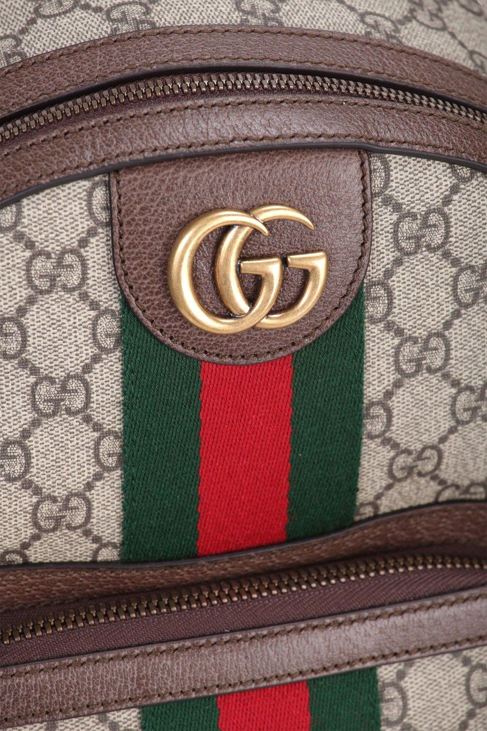 Gucci Leather Backpack In Beige And Ebony Gg Supreme Fabric In