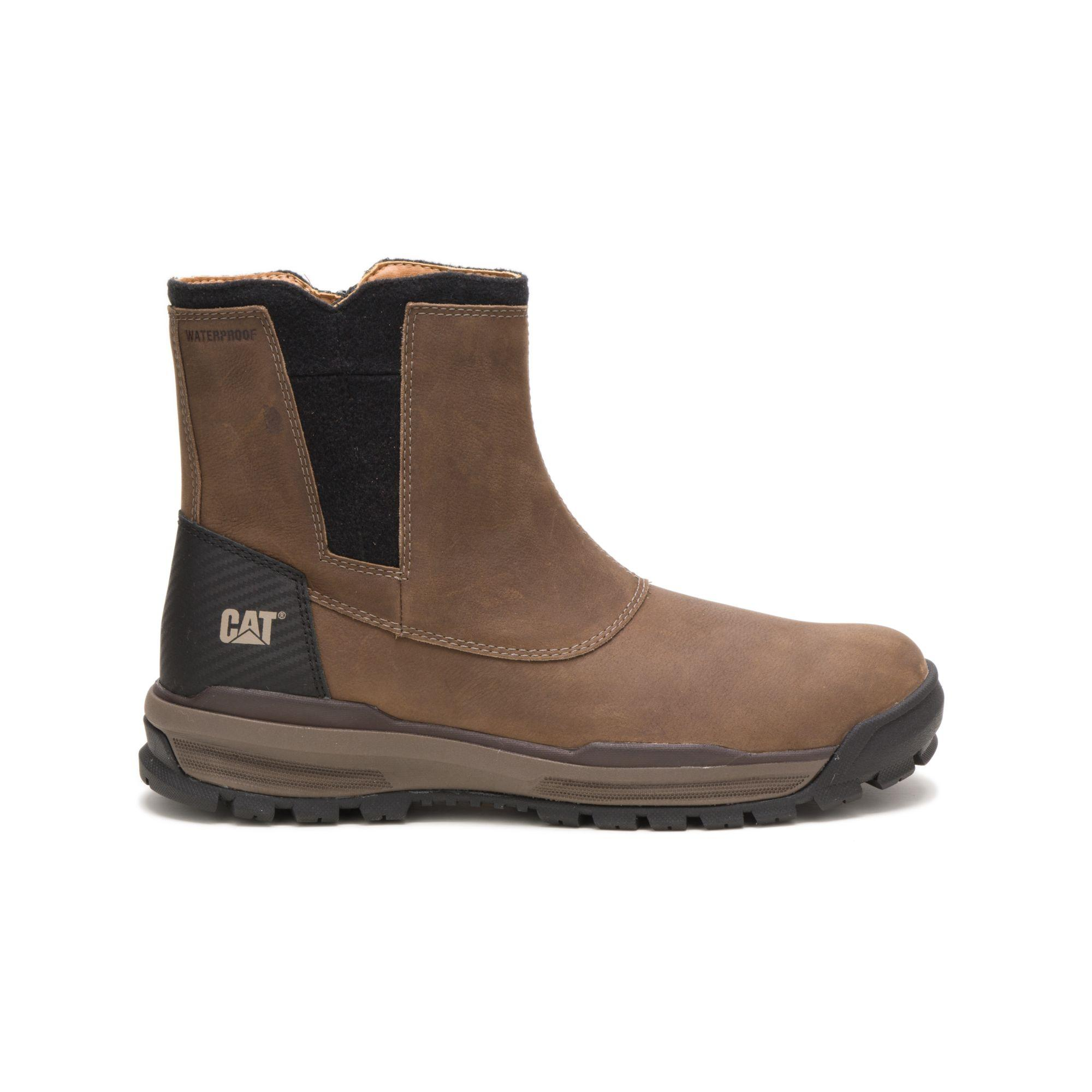 CAT Caterpillar Stiction Hi Ice Ankle Boot Mens Waterproof Hiker Brown Lace Shoe