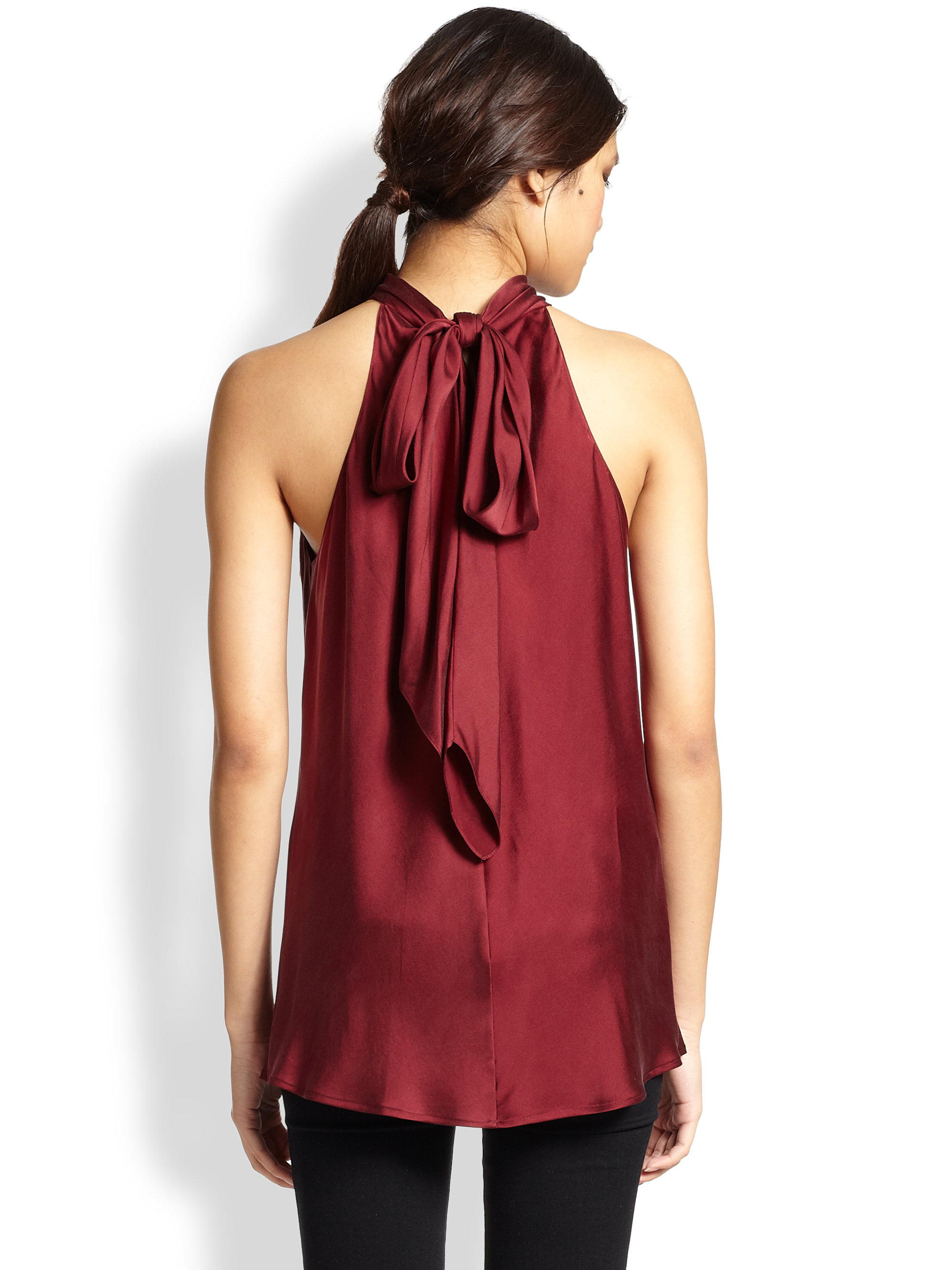 Ramy Brook Paige Stretch Silk Tied Neck Top In Red Lyst
