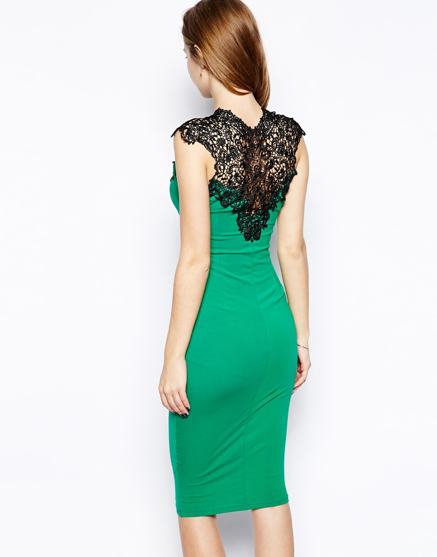 Ax paris body-conscious dress with lace panel