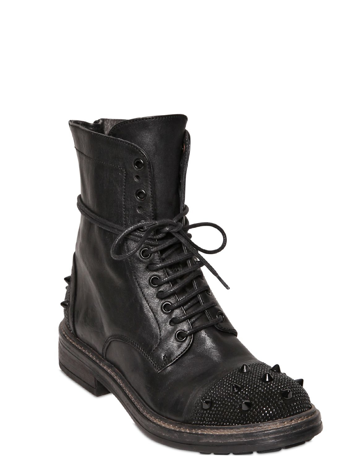 FRU.IT 20mm Embellished Lace Up Calf Boots in Black