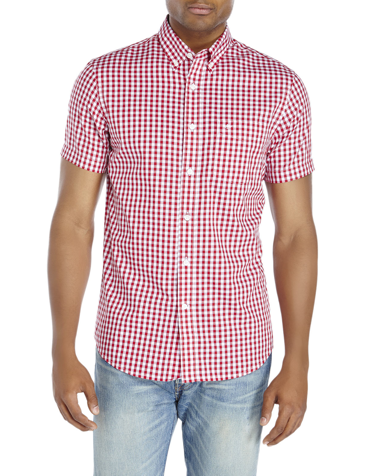 Dockers Gingham Short Sleeve Button-Down Shirt in Red for Men | Lyst