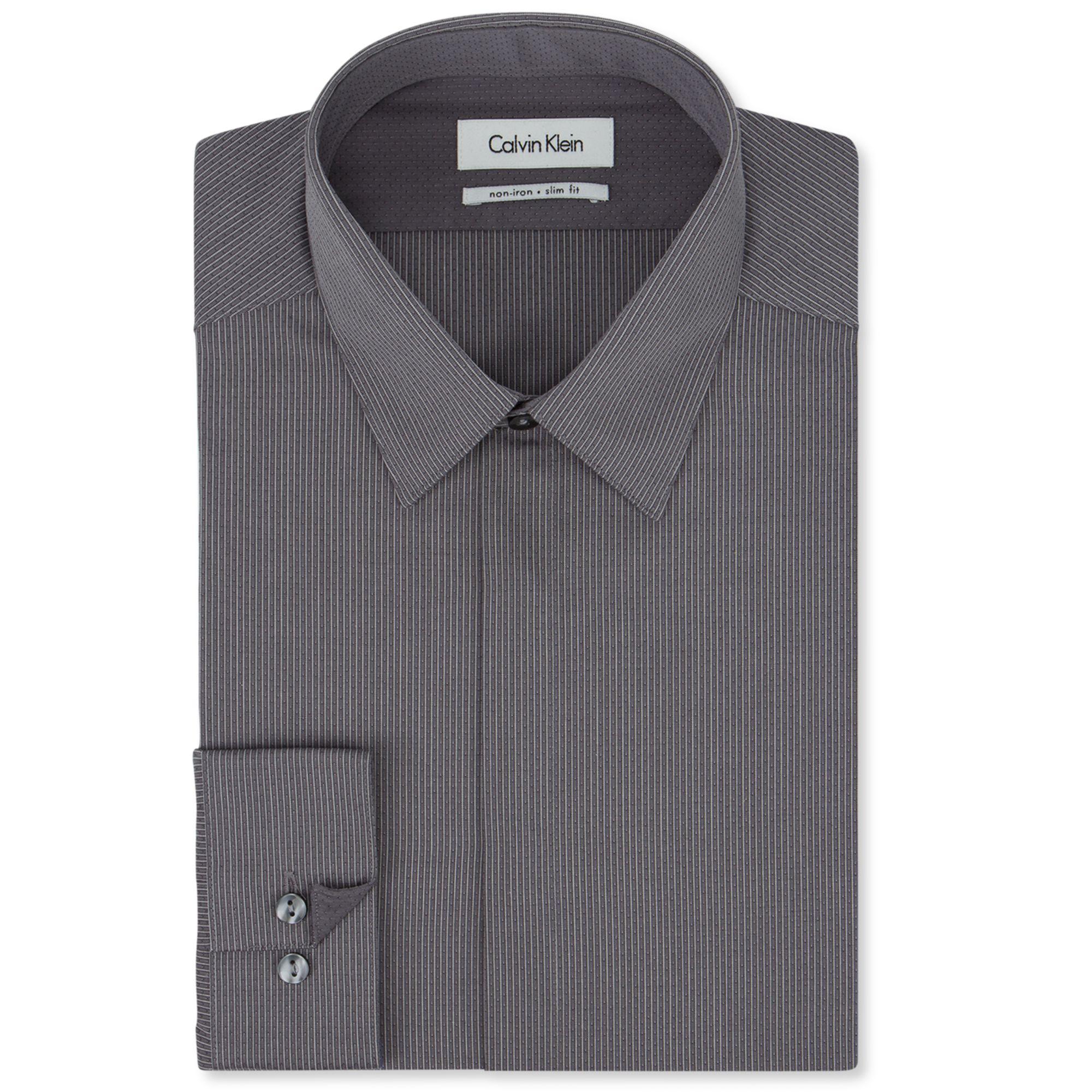 Calvin Klein Steel Grey Stripe Dress Shirt In Gray For Men
