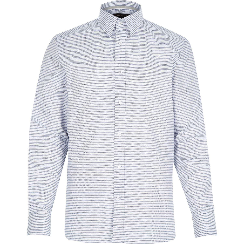 Lyst river island white horizontal stripe shirt in blue for Horizontal striped dress shirts men