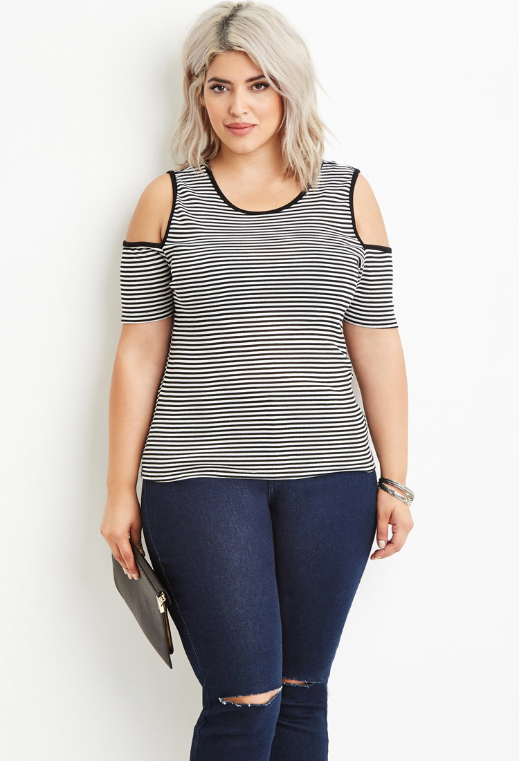 f2014eb847a Lyst - Forever 21 Plus Size Striped Open-shoulder Top You ve Been ...