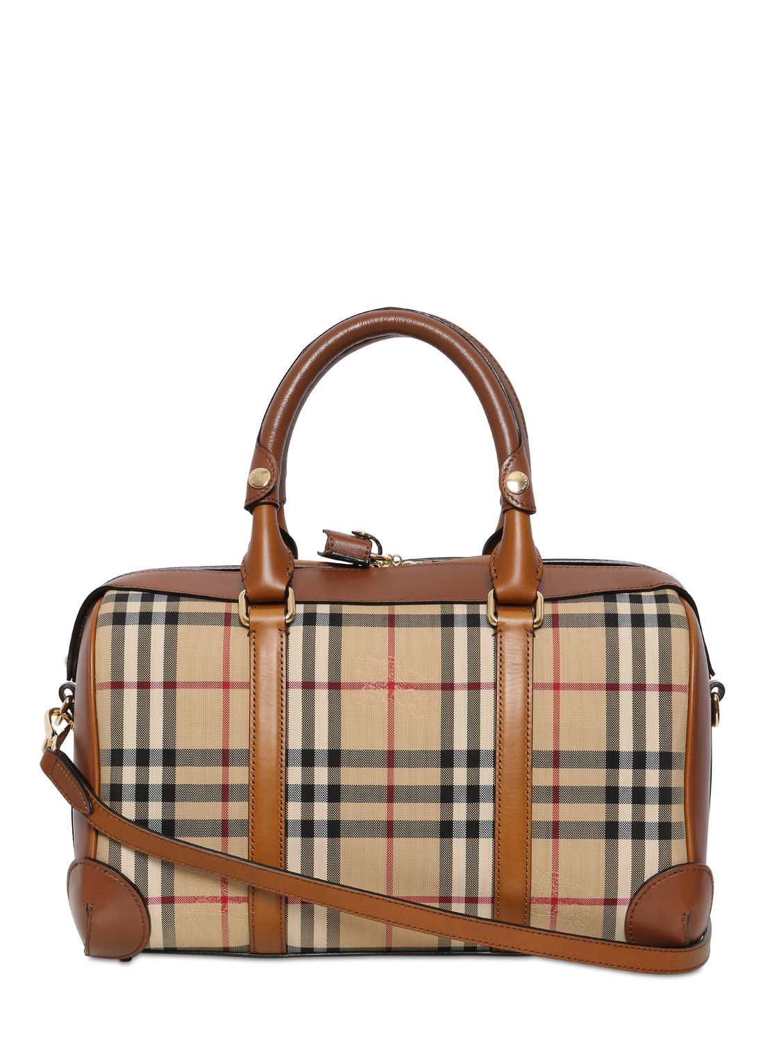 b3a035c26344 Lyst - Burberry Medium Alchester Bridle House Check Bag in Brown