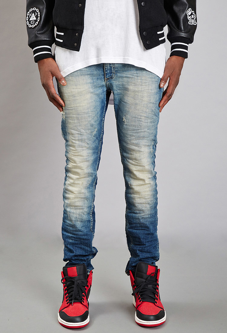 lyst forever 21 reason distressed skinny jeans in blue for men