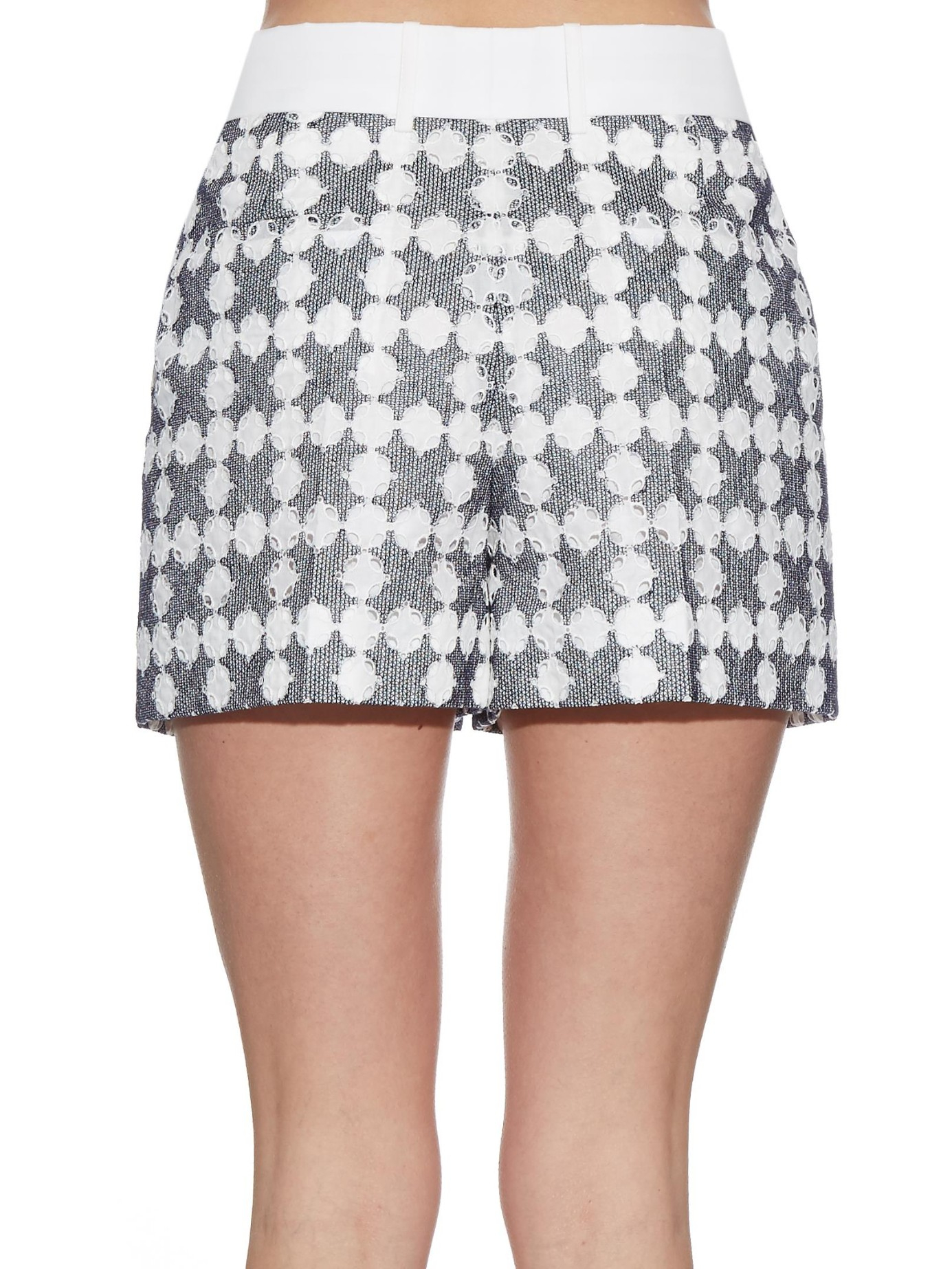 Chlo Broderieanglaise Embroidered Shorts In Blue  Lyst