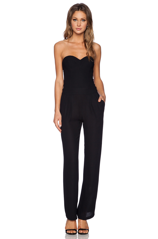 lyst twelfth street cynthia vincent corset jumpsuit in black. Black Bedroom Furniture Sets. Home Design Ideas