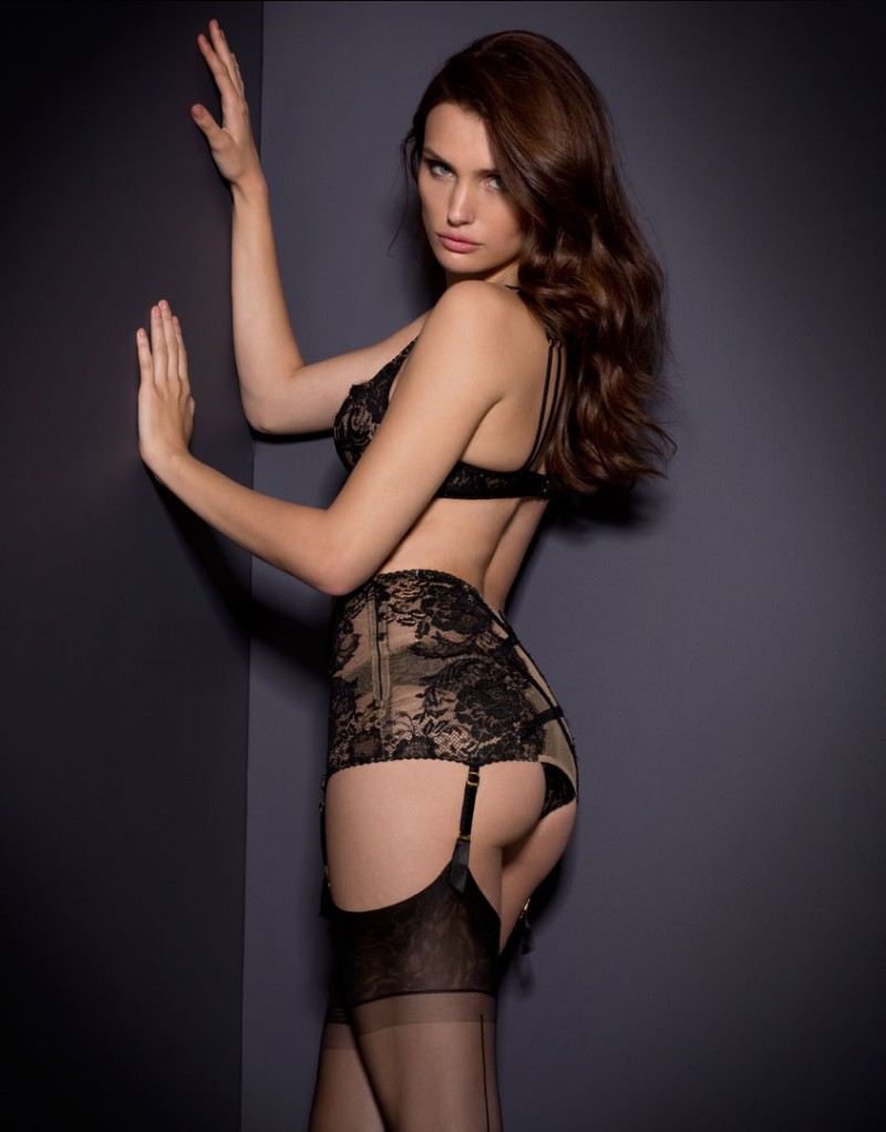 Lyst - Agent Provocateur Adelia Tube Suspender Black gold in Black 5263a5100