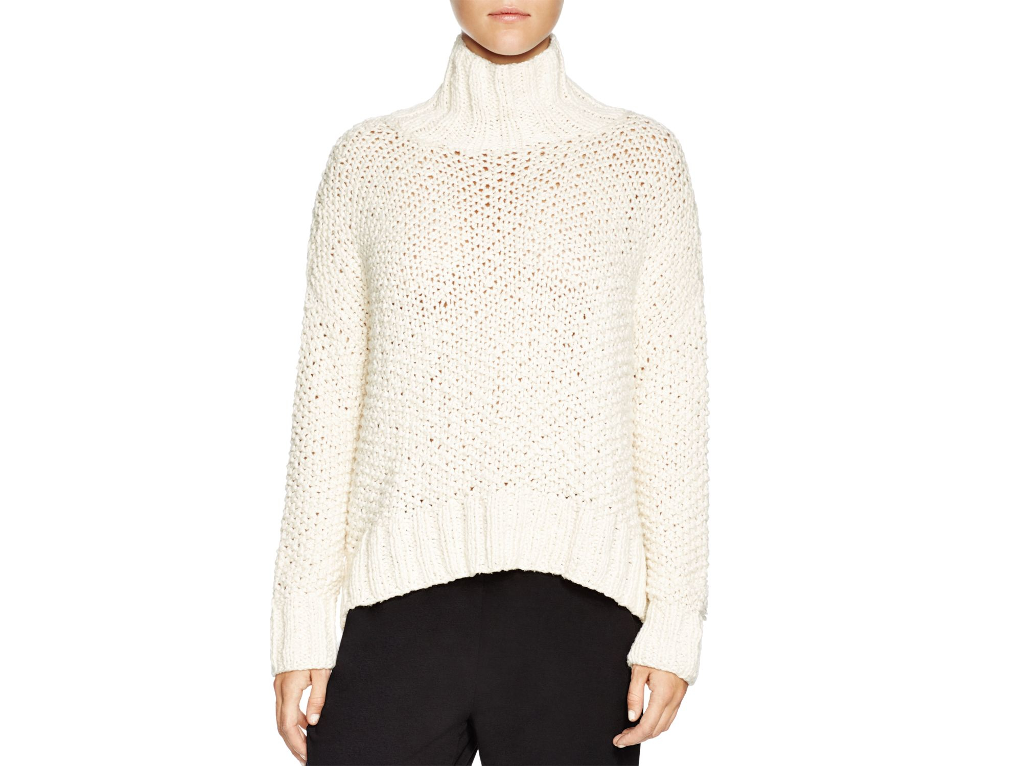Eileen fisher Chunky Knit Turtleneck Sweater in White | Lyst