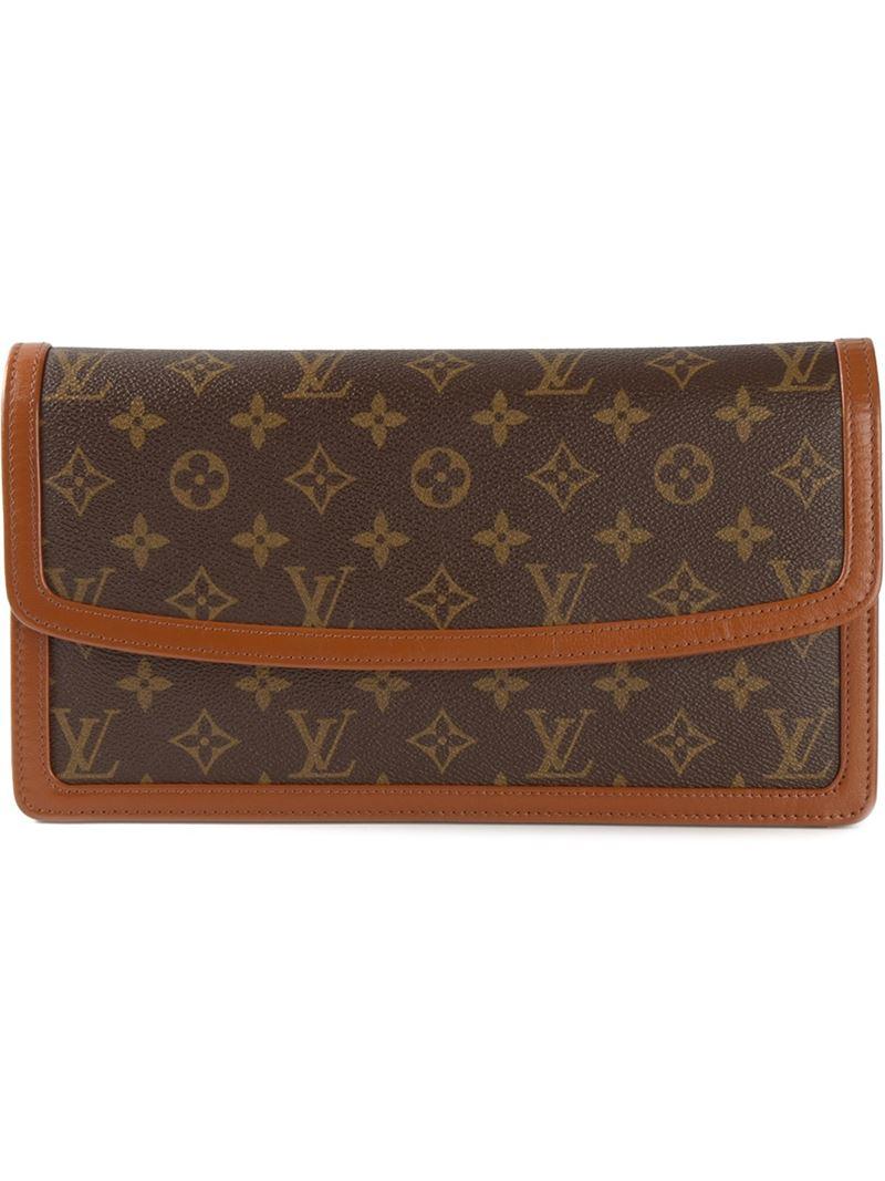 Tassen Dames Louis Vuitton : Louis vuitton dame gm clutch in brown lyst