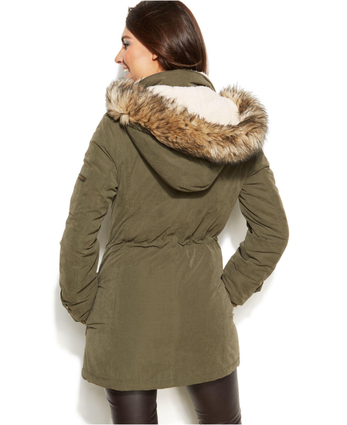 Dkny Hooded Faux Fur Trim Parka Coat In Green Lyst