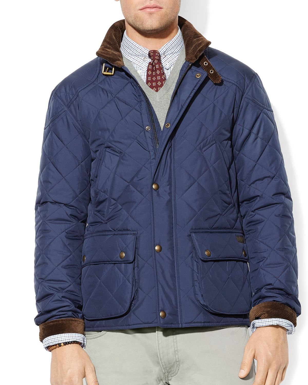Ralph Lauren Polo Cadwell Quilted Bomber Jacket In Blue