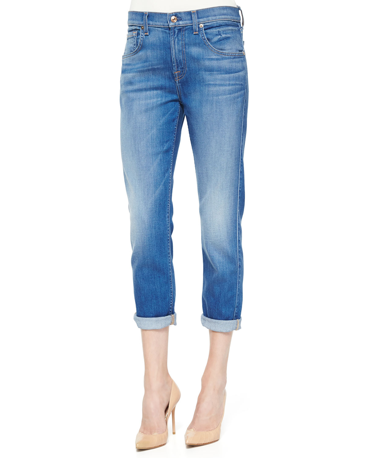 7 for all mankind the cropped relaxed straight leg jeans in blue lyst. Black Bedroom Furniture Sets. Home Design Ideas