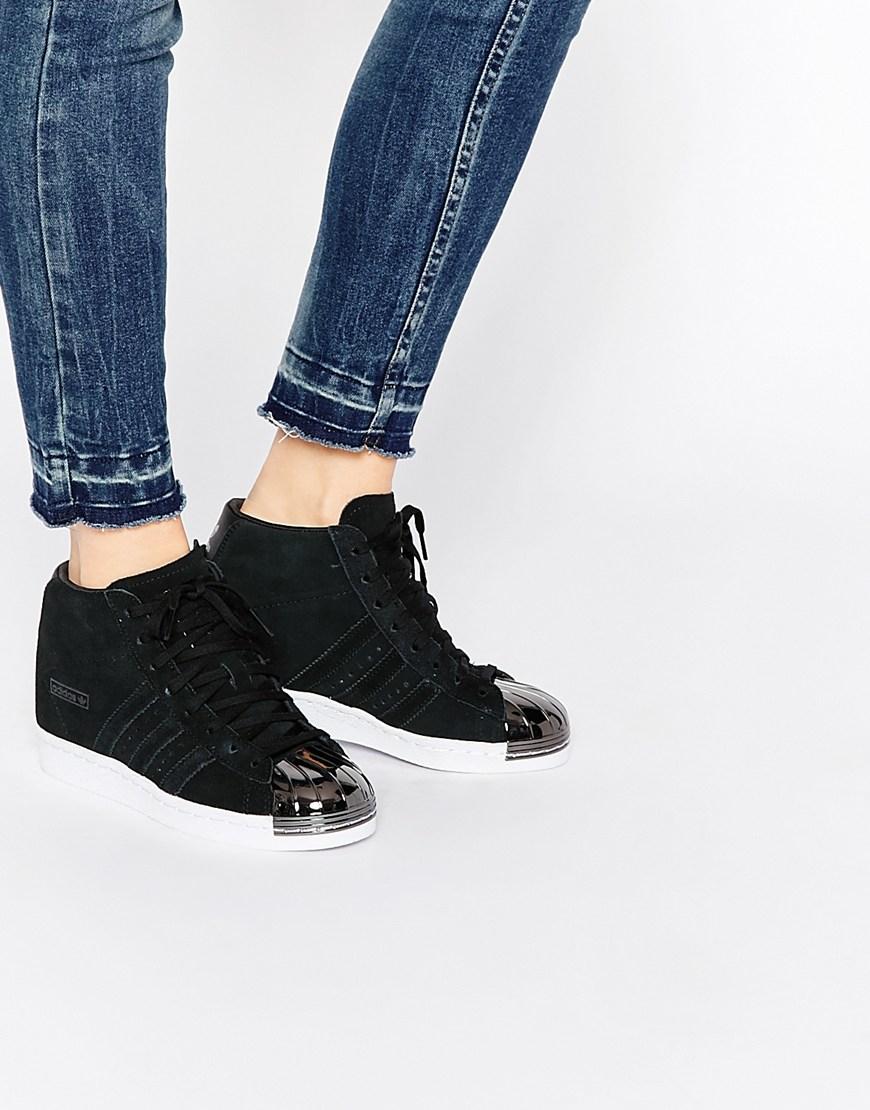 Lyst - adidas Originals Originals Black Suede Superstar Up Metal Toe ... 824a167f51a