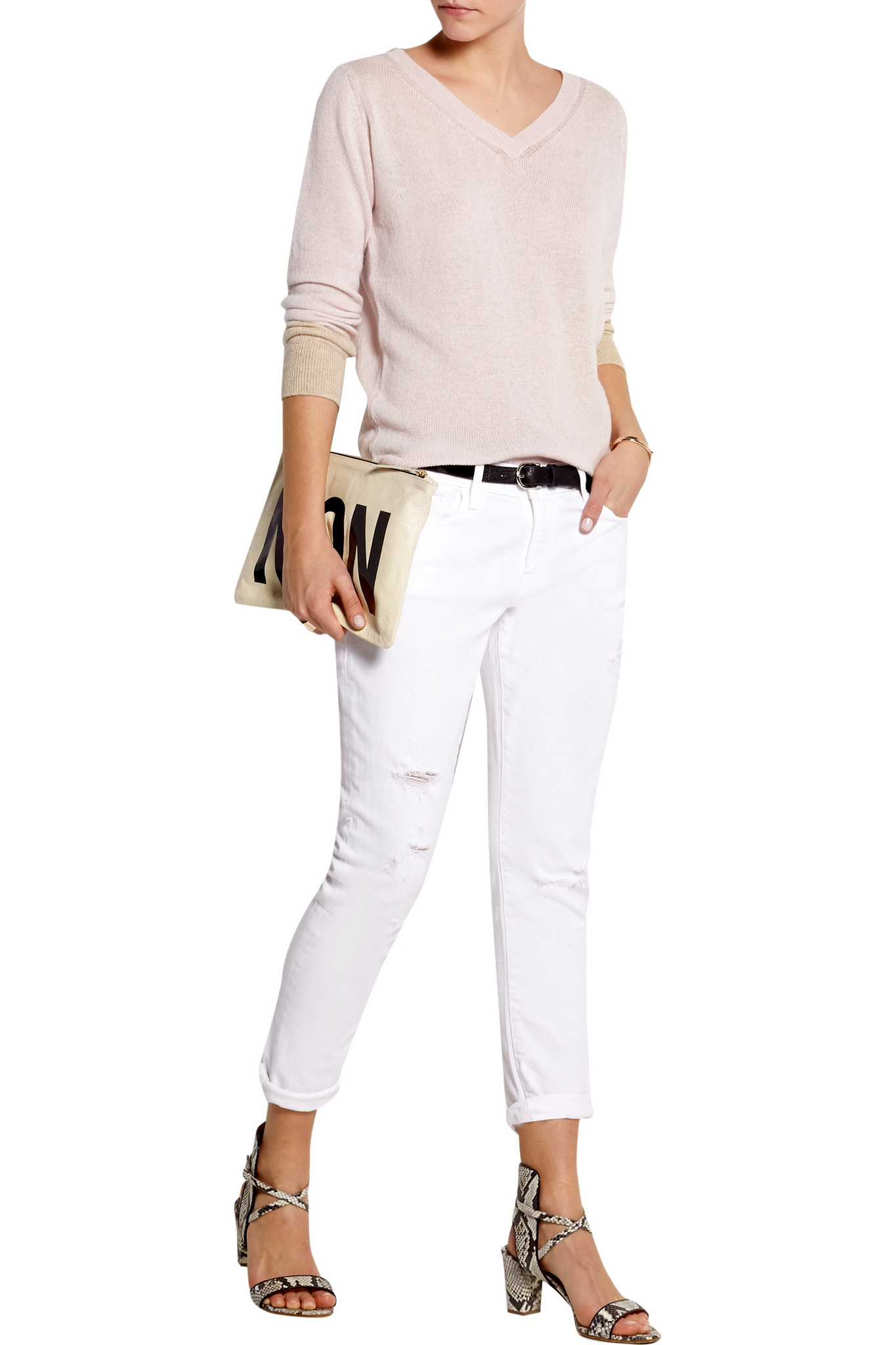 Chinti Parker Contrast Cuff Cashmere Sweater In Pink Lyst