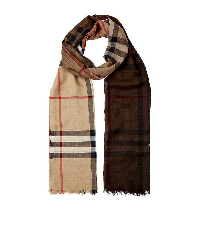 burberry check ombre wool silk scarf in beige lyst