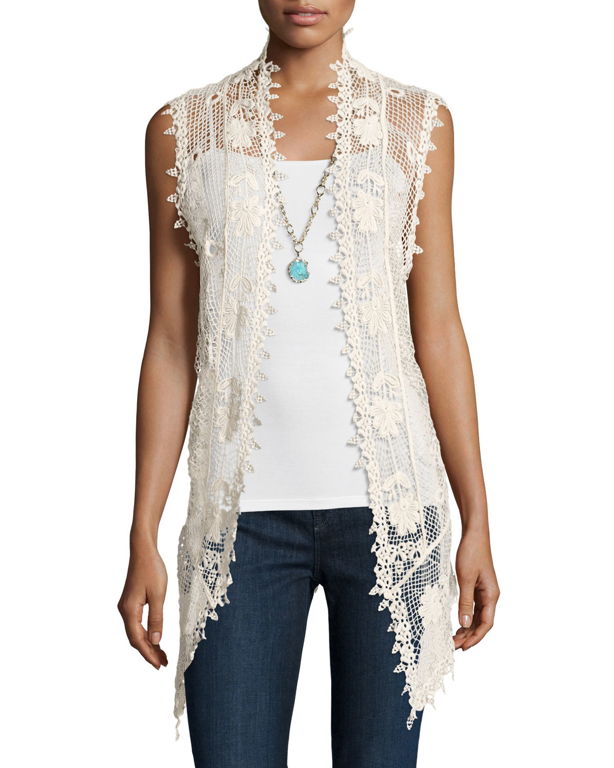 Liquid by sioni Long Sleeveless Crochet Vest in Natural | Lyst