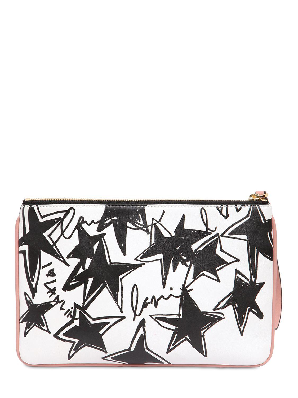 Lanvin Grandes Étoiles Pochette D'impression En Blanc, Noir, Imprimé Géométrique