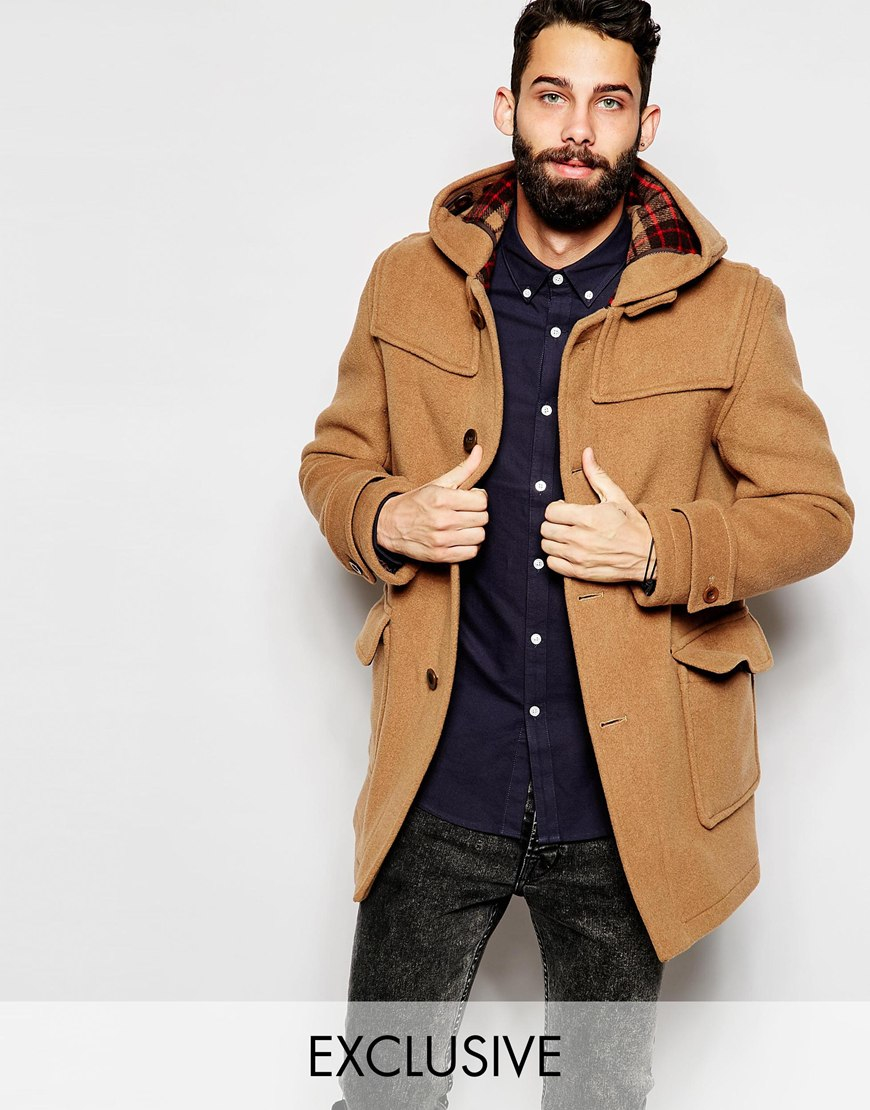 Gloverall Duffle Coat With Contrast Buttons Exclusive in Brown for ...