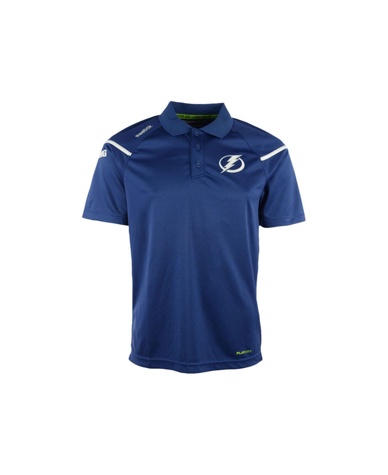 ad6ca030 Reebok Blue Men'S Tampa Bay Lightning Center Ice Polo Shirt for men