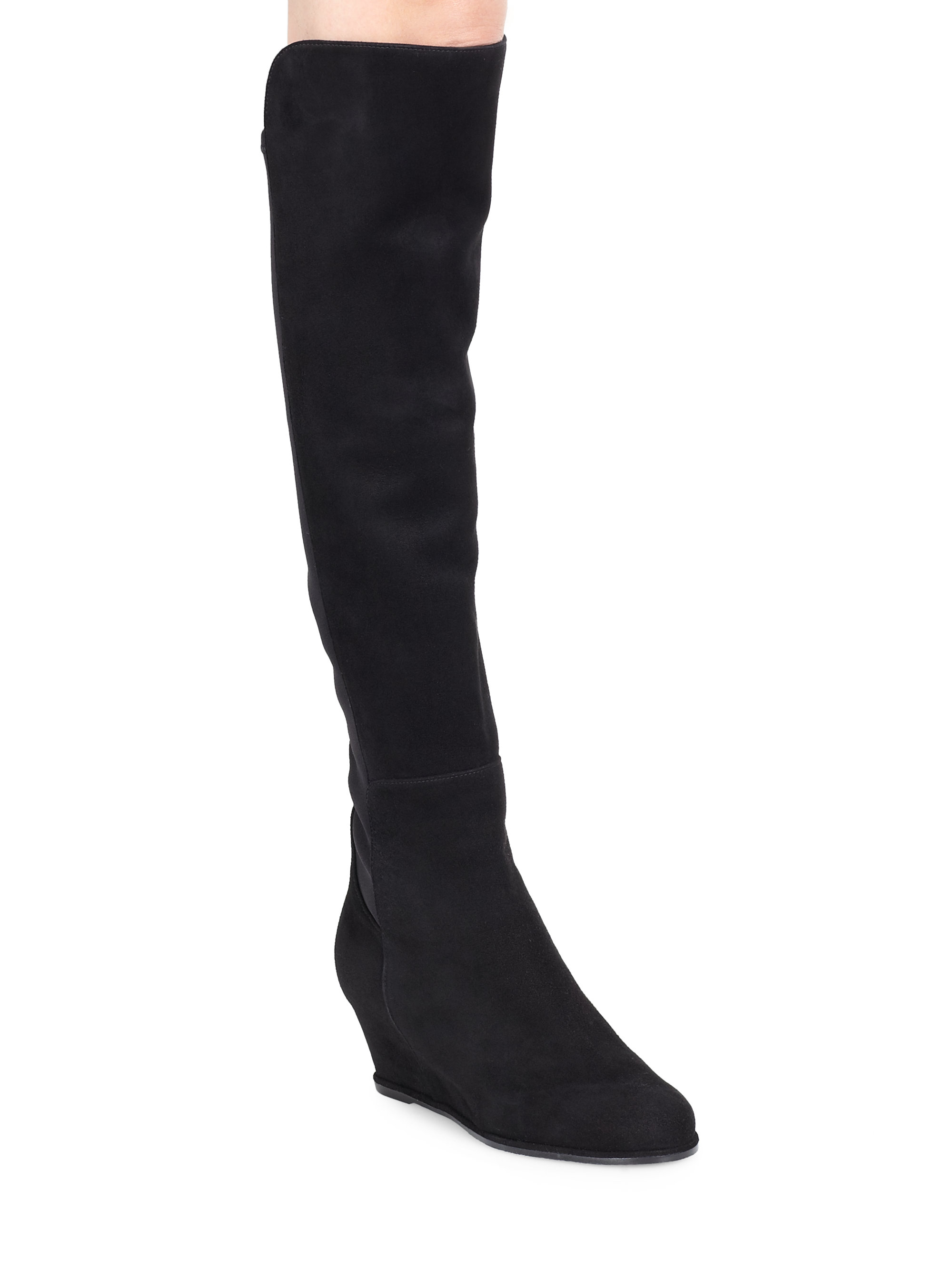 Stuart weitzman Suede Over-the-knee Wedge Boots in Black | Lyst