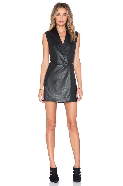 Bcbgmaxazria Caryn Faux Leather Wrap Dress In Black Lyst