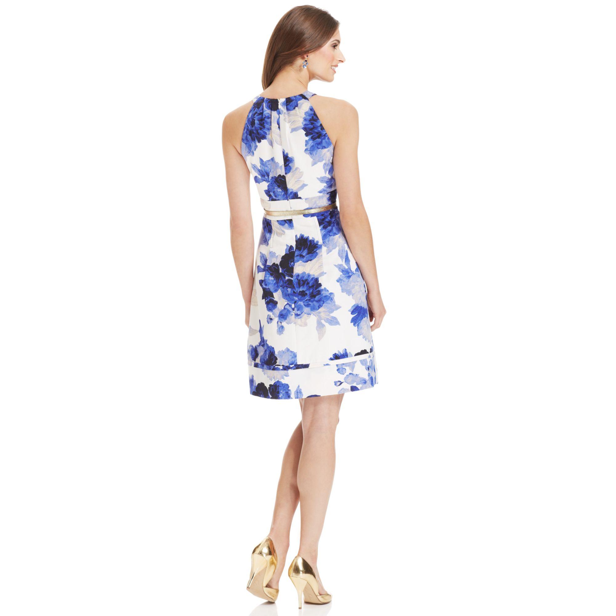 Eliza J Sleeveless Floralprint Belted Dress In Blue Lyst
