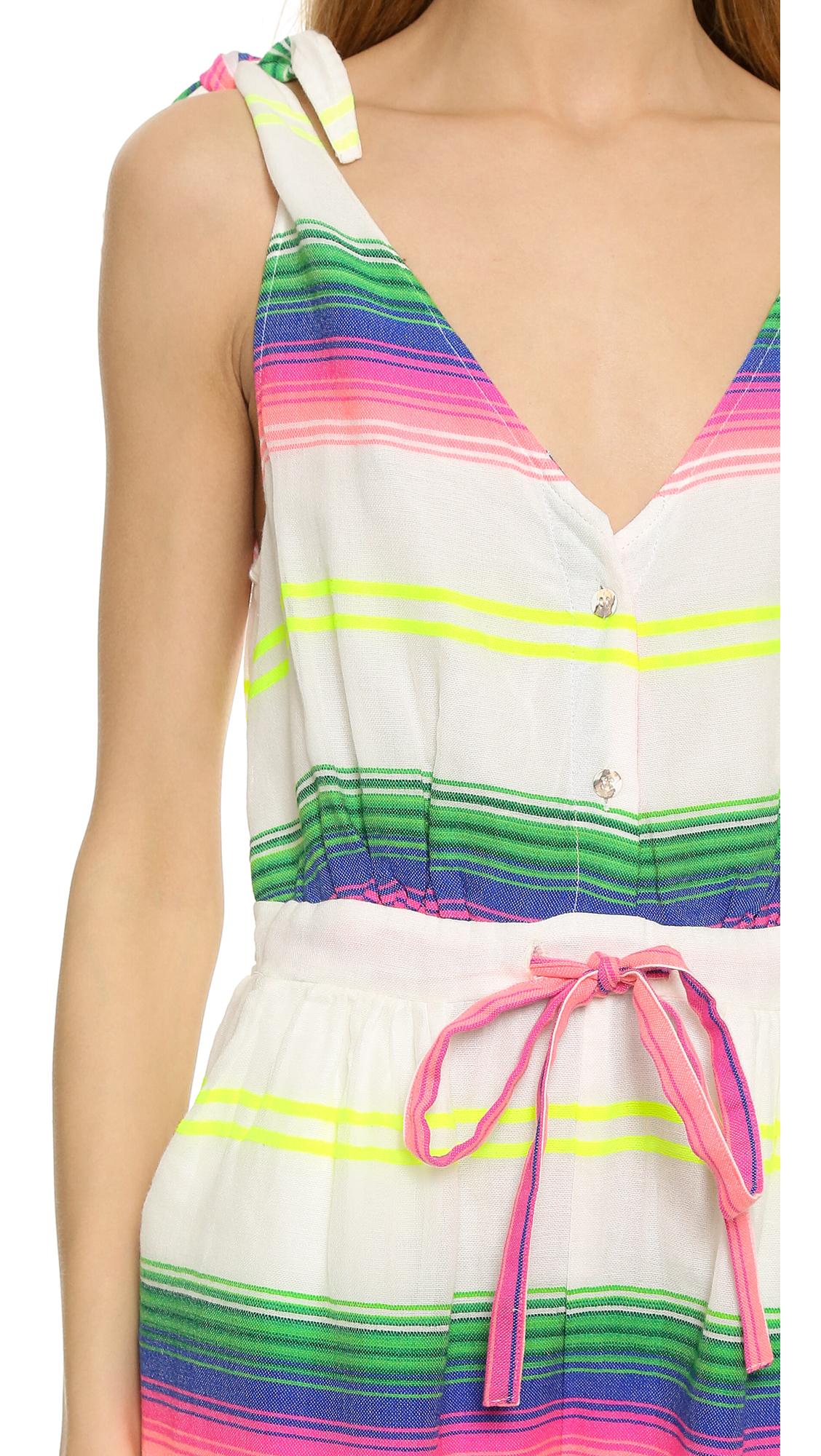 32a8152c80b7 Mara Hoffman Beach Romper - Rainbow Stripe Gauze - Lyst