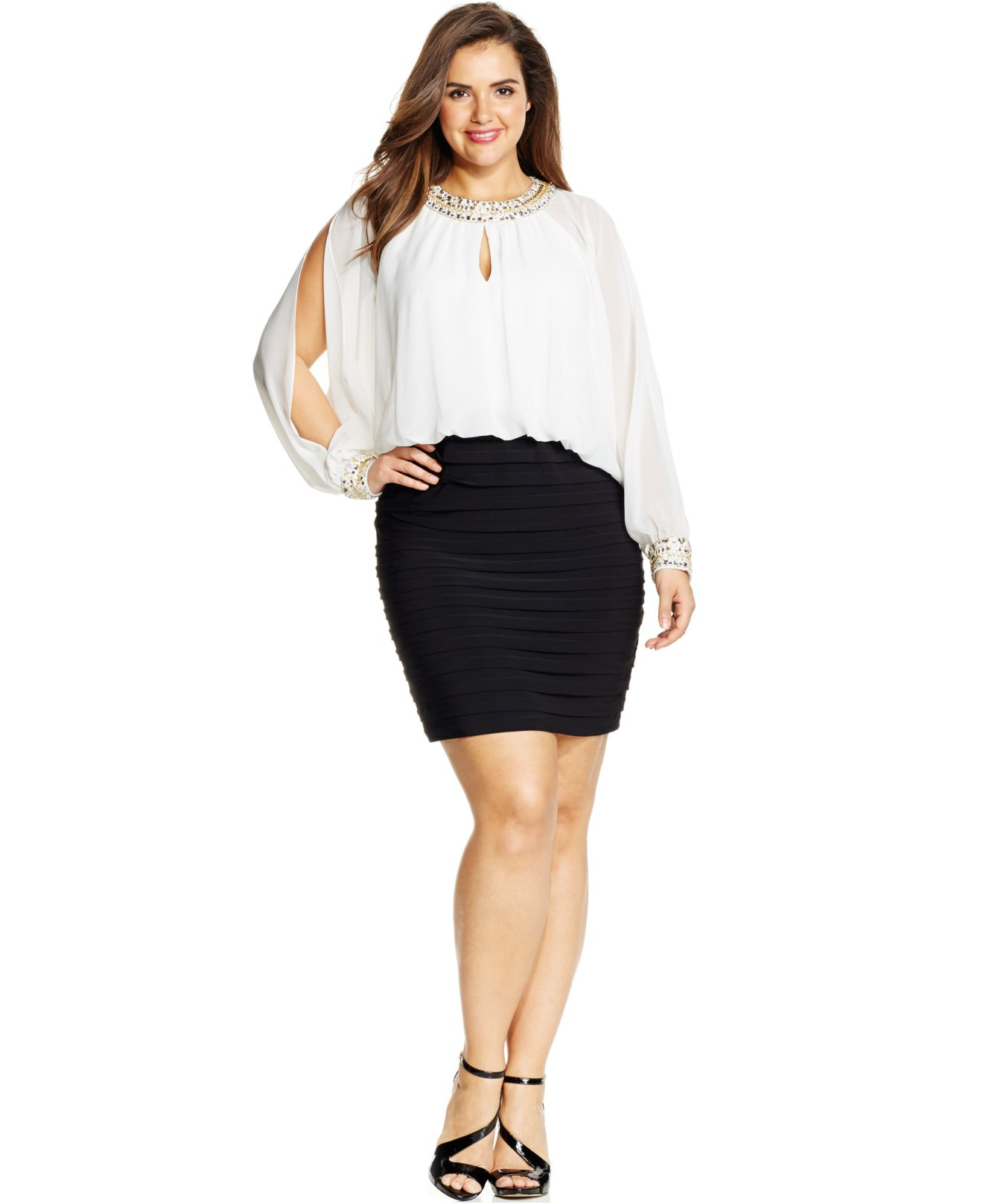 Xscape White Plus Size Colorblocked Cold-shoulder Blouson Dress