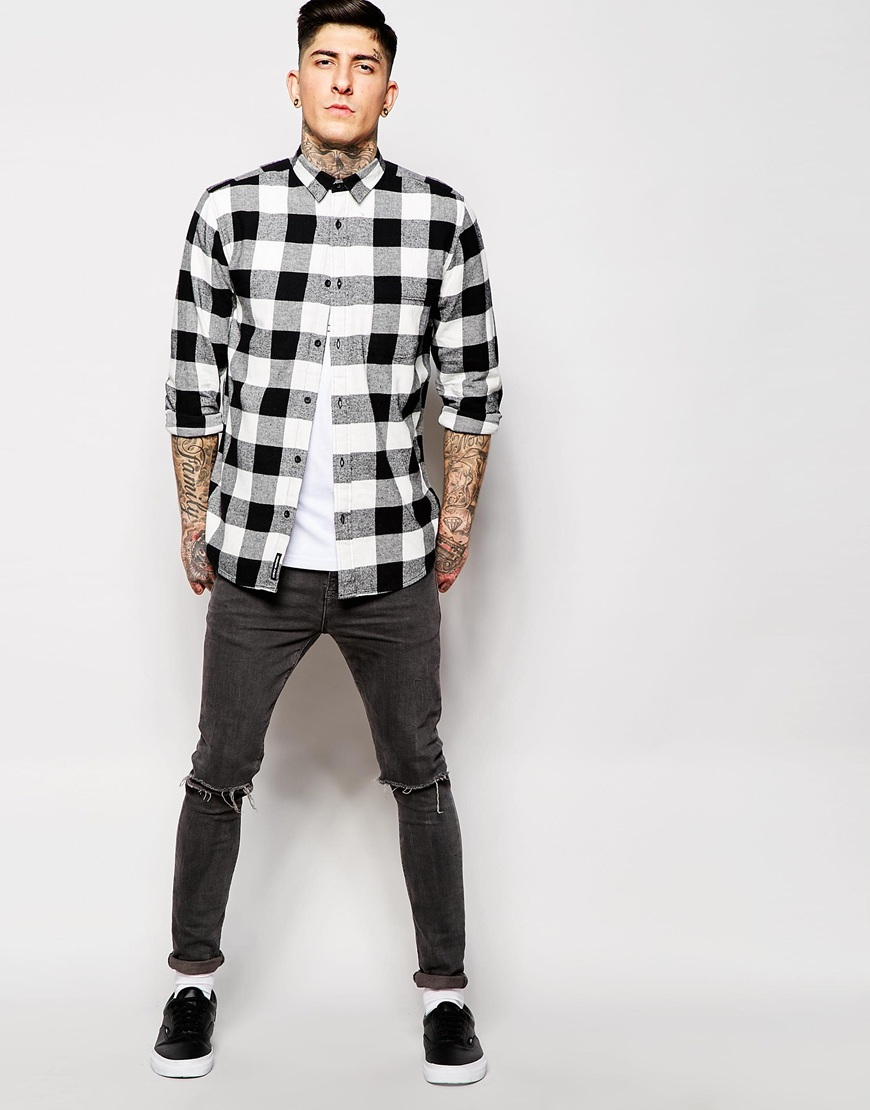 Lyst Cheap Monday Shirt Neo Flannel Square Check In