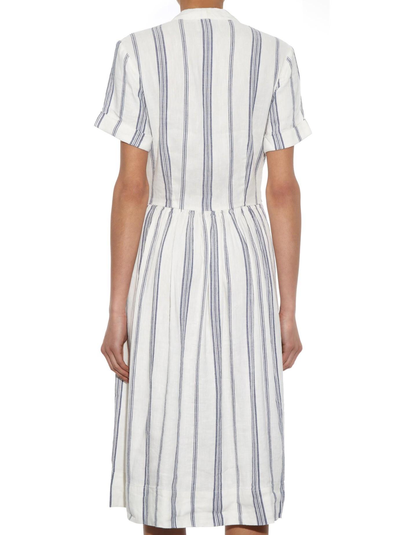Lyst Sea Striped Linen Blend Dress