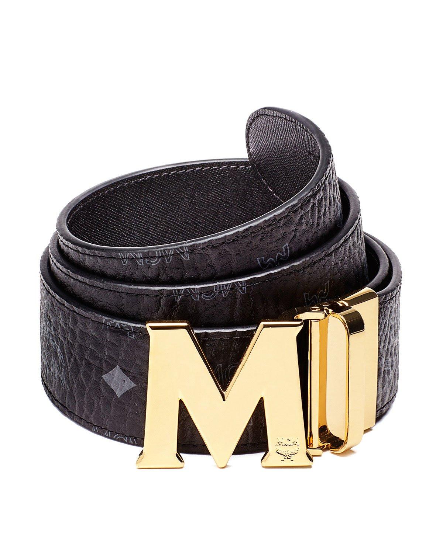 mcm visetos reversible leather belt in black lyst