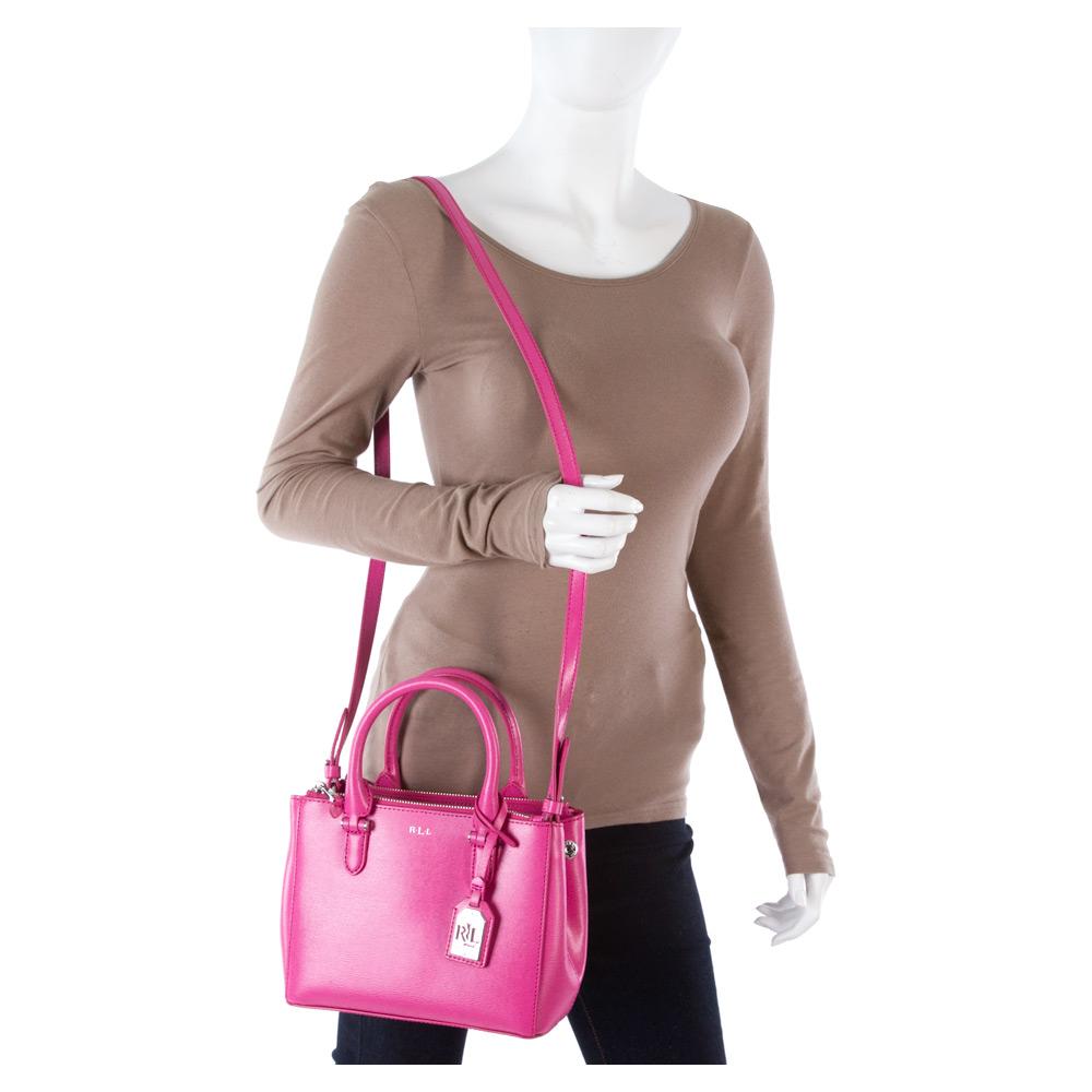 4a218a19863d9 Lyst - Lauren by Ralph Lauren Newbury Mini Double Zip Satchel in Pink
