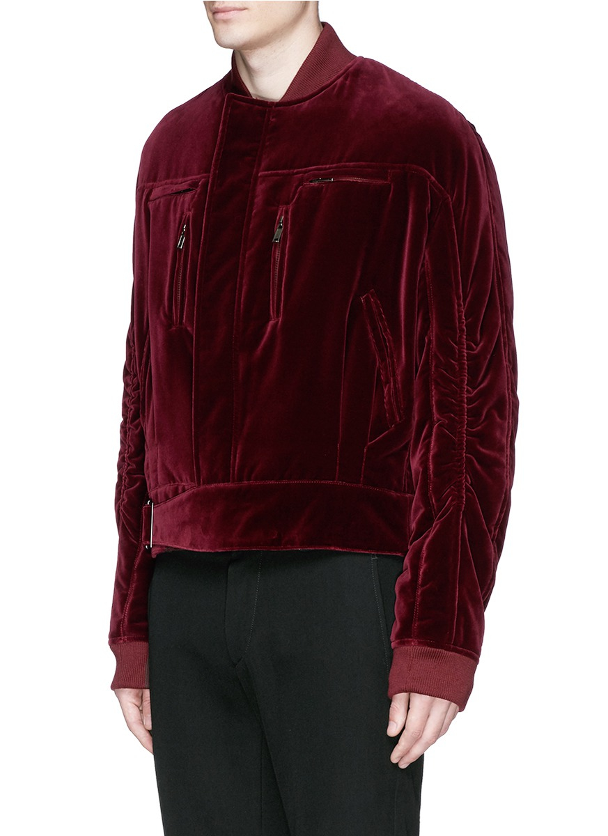 2f8edce64 Haider Ackermann Ruche Sleeve Velvet Bomber Jacket in Red for Men - Lyst