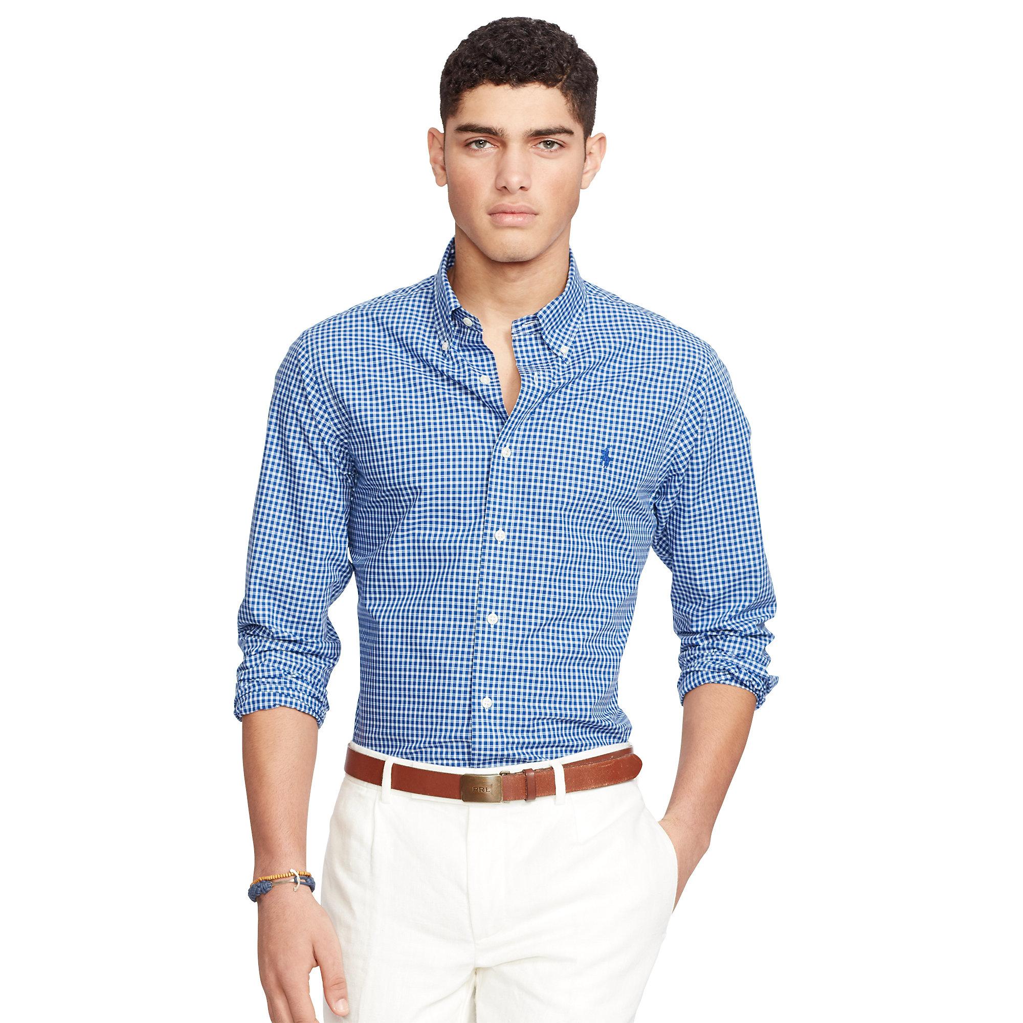 c6cd385c Polo Ralph Lauren Blue Slim-fit Plaid Poplin Shirt for men