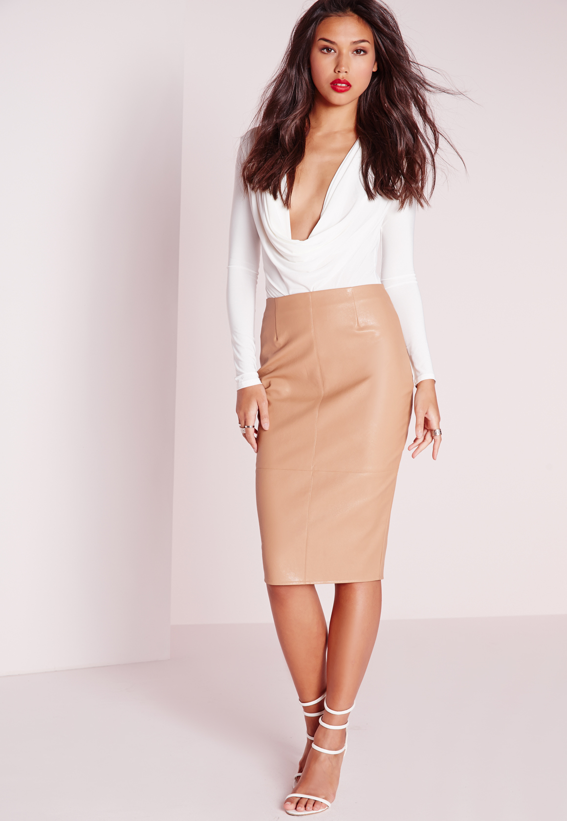 Missguided Faux Leather Seam Detail Midi Skirt Camel in Brown | Lyst