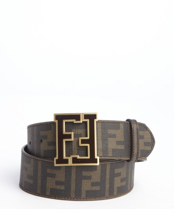 fendi tobacco zucca spalmati and brown logo buckle belt in
