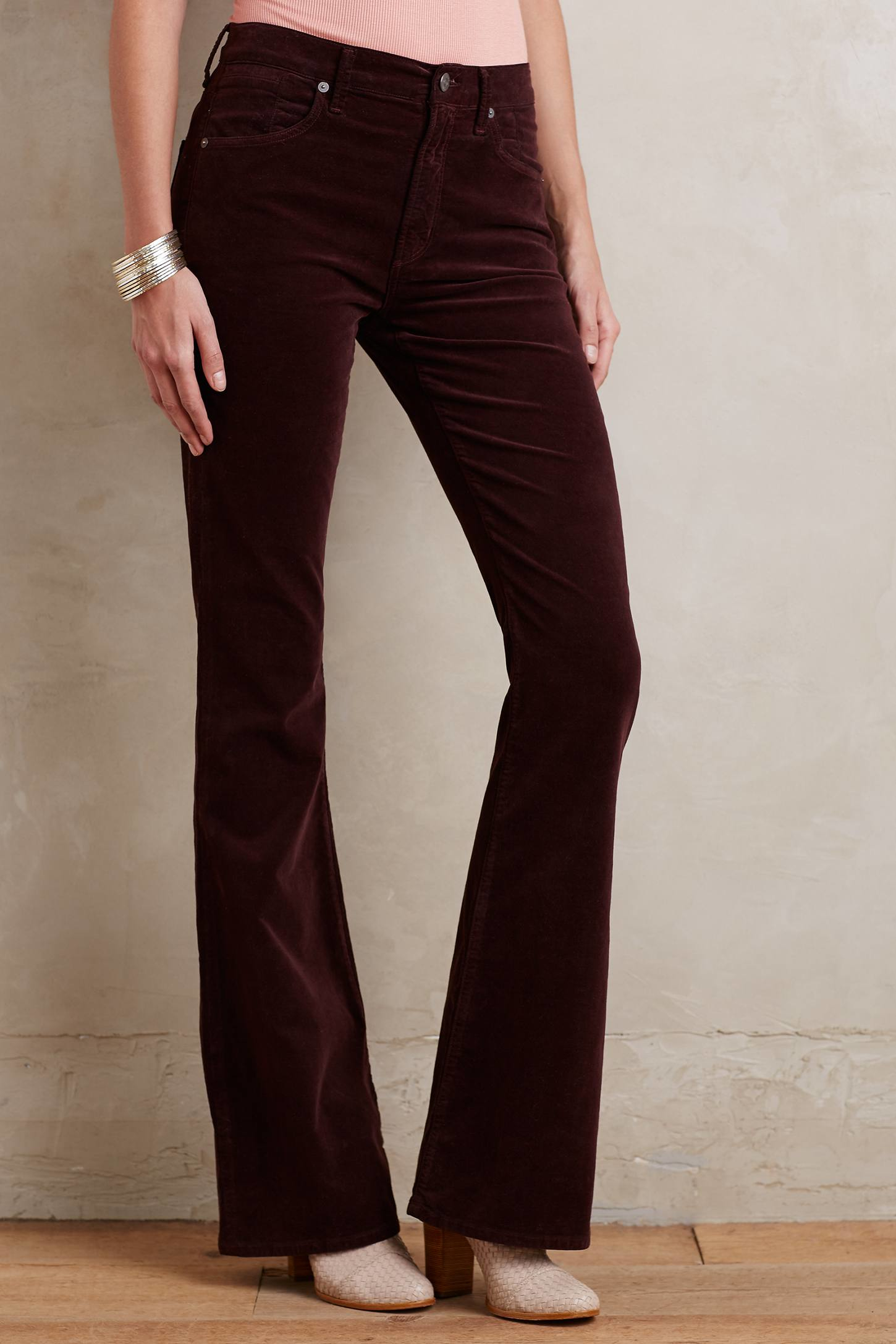 Citizens of humanity Fleetwood Velvet Flare Jeans in Red | Lyst