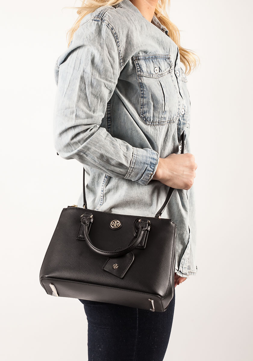 Tory Burch Robinson Micro Double Zip Tote Black Leather In