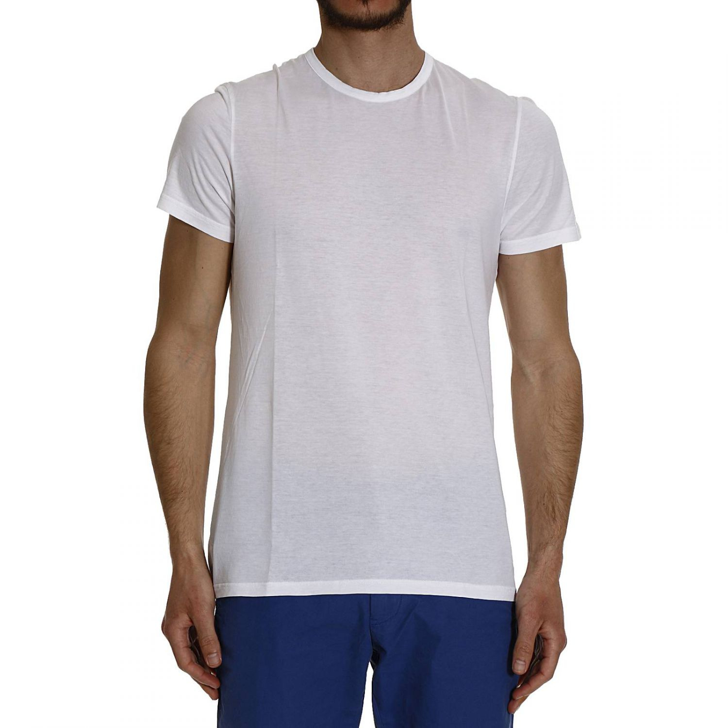 Brooksfield t shirt half sleeve crew neck cotton in white for Half sleeve t shirts for men