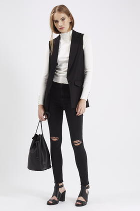 8ccb607a503cc8 Lyst - TOPSHOP Petite Sleeveless Tailored Jacket in Black