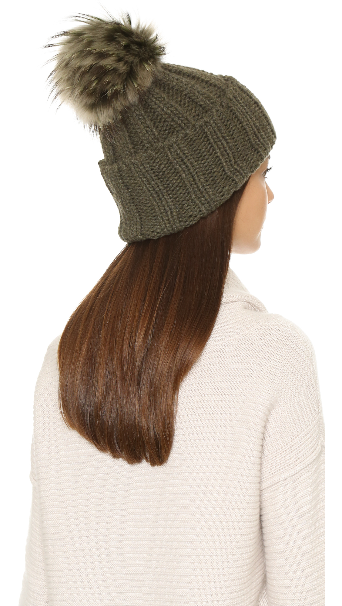 Lyst - Inverni Cashmere Ribbed Pom Beanie Hat - Olive in Green 01baac423f9