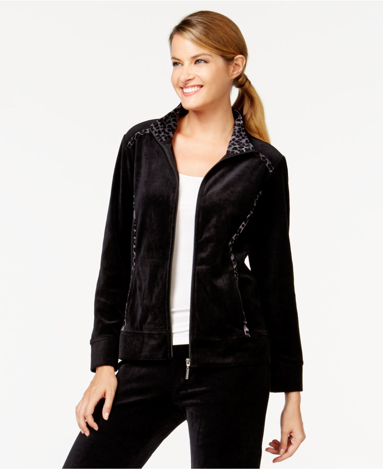 Style & Co. Style&co. Petite Leopard-trim Velour Jacket
