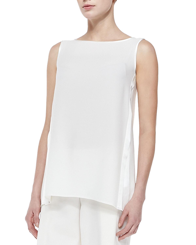 White Silk V-Neck Blouse 77